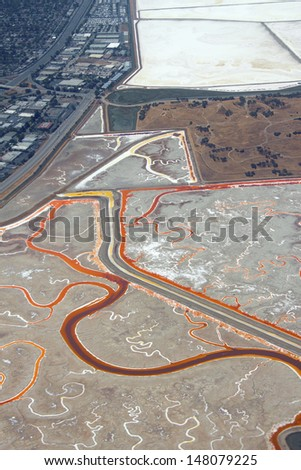Aerial view of salt evaporation ponds near Redwood City, California, United States