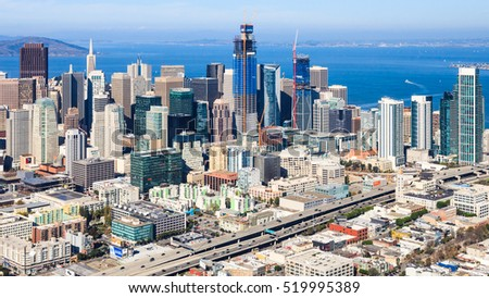 Aerial view of San Francisco Financial district and SOMA.
