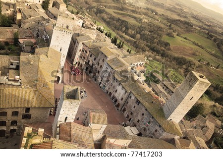 Aerial view of San Gimignano medieval town in Tuscany, Italy - stock photo
