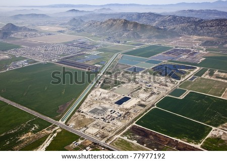 Aerial view of San Jacinto Valley Regional Water Reclamation Facility and man-made wetlands - stock photo