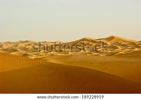Aerial view of sand dunes in the Taklimakan desert, Asia.