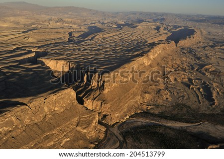 Aerial view of Santa Elena Canyon on the Rio Grande river, border of United States and Mexico. Big Bend National Park, Texas, United States. - stock photo