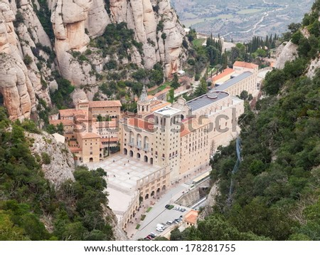 Aerial view of Santa Maria de Montserrat Monastery in Spain  - stock photo