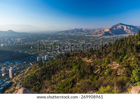 Aerial view of Santiago, Chile from Cerro Santa Lucia - stock photo