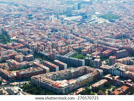 Aerial view of  Sants residential district from helicopter. Barcelona, Catalonia  - stock photo