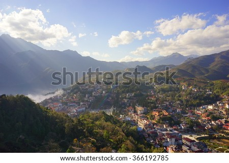 Aerial View of Sapa City in Vietnam - stock photo