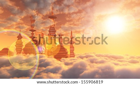 aerial view of Sci Fi City with clouds and sun - stock photo