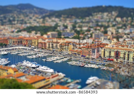 Aerial view of sea port of City of Nice, France. Tilt-shift miniature effect