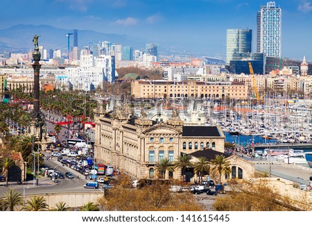 Aerial view of seaside district at Barcelona, Spain - stock photo