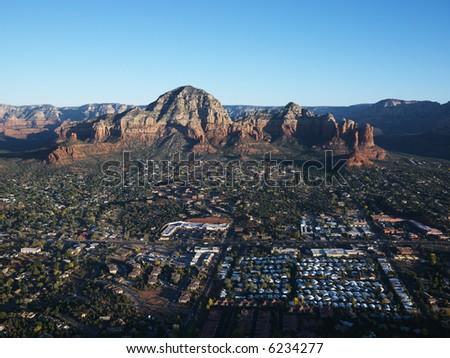 Aerial view of Sedona, Arizona with landforms. - stock photo