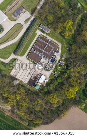 aerial view of sewage treatment plant in Nysa city in Poland