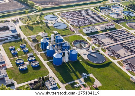 aerial view of sewage treatment plant in wroclaw city in Poland - stock photo