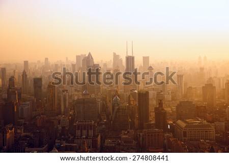 Aerial view of Shanghai at sunset, China - stock photo