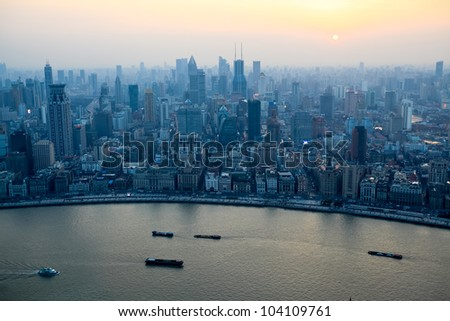 aerial view of shanghai bund at sunset from the oriental pearl tv tower