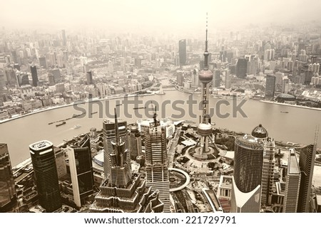 aerial view of shanghai lujiazui finance - stock photo