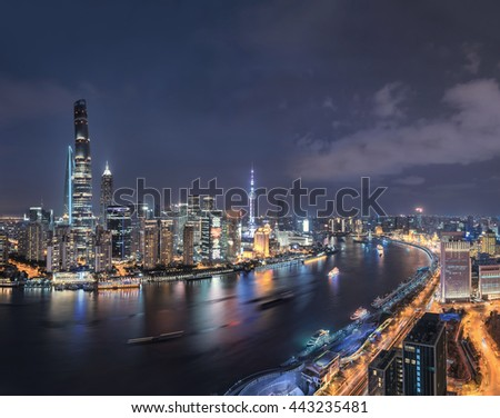Aerial View of Shanghai Skyline and Cityscape at night
