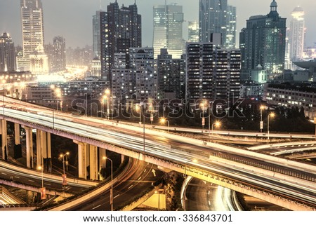Aerial view of Shanghai viaduct night, severe traffic congestion - stock photo