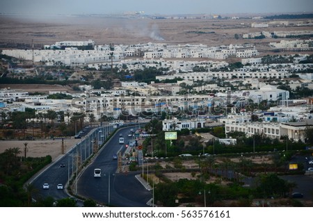 Aerial View of Sharm El Sheikh City and peace road
