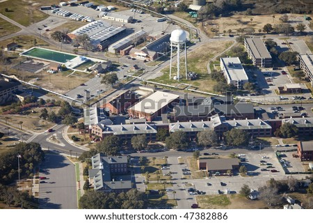 aerial view of shopping center on marine base at parris island - stock photo