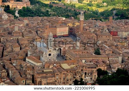 Aerial view of Siena city, i Tuscany Italy - stock photo