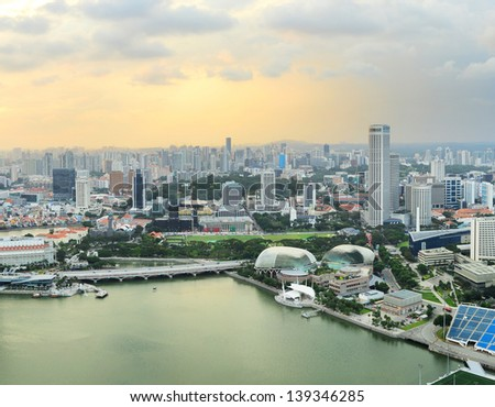 Aerial view of Singapore at  sunset - stock photo