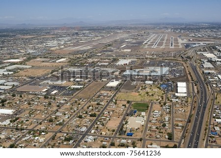 Aerial view of Sky Harbor International Airport in Phoenix, Arizona - stock photo