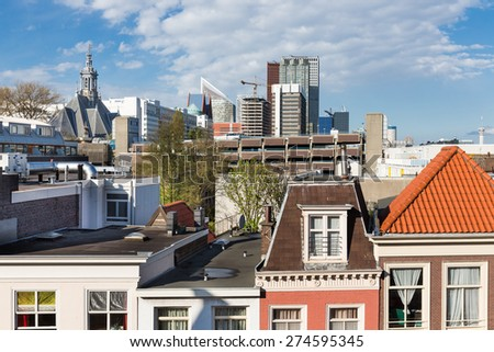 Aerial view of Skyline The Hague with some big office buildings - stock photo