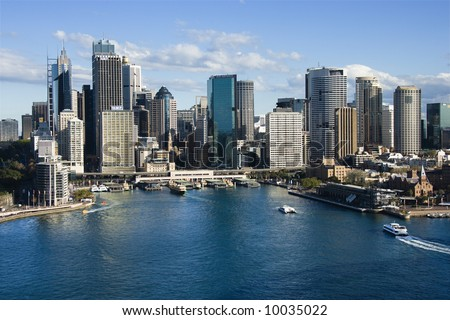 Aerial view of skyscrapers and Sydney Cove in Sydney, Australia. - stock photo