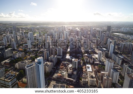 Aerial View of Skyscrapers in a Big City - stock photo