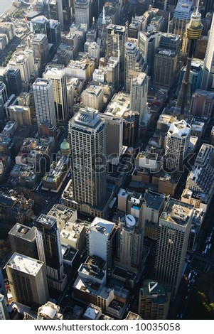 Aerial view of skyscrapers in downtown Sydney, Australia.