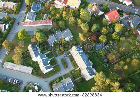 Aerial view of small French village in Ile-de-France - stock photo