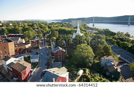 Aerial view of small town on the Hudson River, NY. - stock photo