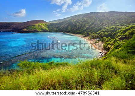 aerial view of snorkeling paradise Hanauma Bay, one of the most popular tourist destinations on Oahu, Hawaii