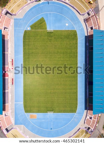 Aerial view of Soccer field, Soccer Stadium, Football Stadium
