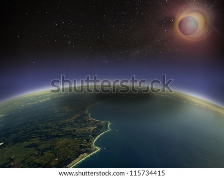 Aerial view of solar eclipse over Queensland Coast, Australia. Digital manipulation. - stock photo