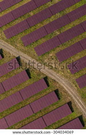 Aerial view of solar power plant in germany