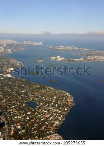 Aerial view of South Florida coastline North of Miami - stock photo