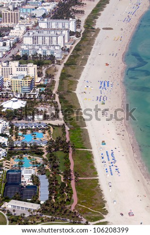 Aerial view of South Florida's coastline and beaches - stock photo