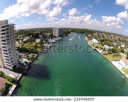 Aerial view of South Florida waterways and canals - stock photo