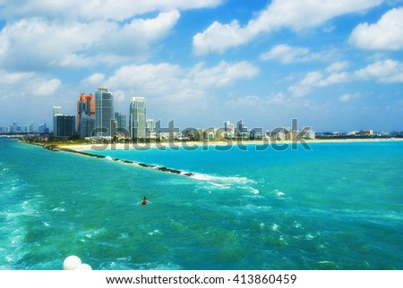 Aerial view of South Miami Beach  and skyscrapers at sunny day - stock photo
