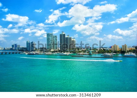 Aerial view of South Miami Beach, bridge  and skycrappers - stock photo