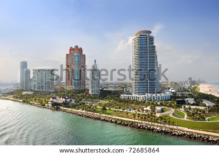 Aerial view of South Miami Beach with luxury apartments and buildings - stock photo
