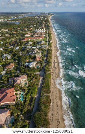 aerial view of southeast florida atlantic ocean beach winter 2013 - stock photo