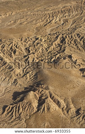 Aerial view of southwestern mountain landscape.