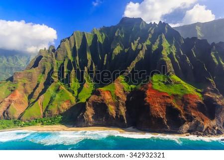Aerial view of spectacular Na Pali coast, Kauai, Hawaii - stock photo