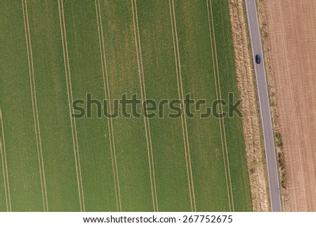aerial view of spring time village landscape in Poland - stock photo