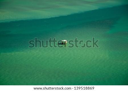 Aerial view of stilt house in the Atlantic ocean, Stiltsville, Safety Valve, Biscayne Bay, Miami, Florida, USA - stock photo