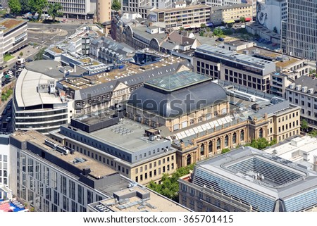 Aerial view of Stock exchange in Frankfurt, Germany from the Main Tower. - stock photo
