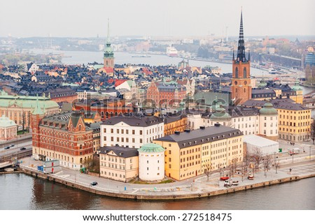 Aerial view of Stockholm old town, it Swedish name is Gamla Stan and it is one of the fourteen islands of the city - stock photo
