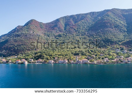 Aerial view of Stoliv, Bay Kotor, Montenegro